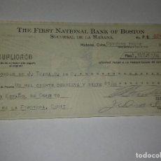 Documentos bancarios: PAGARÉ. THE FIRST NATIONAL BANK OF BOSTON. HABANA, CUBA, 13 DE OCTUBRE DE 1927.. Lote 116724775