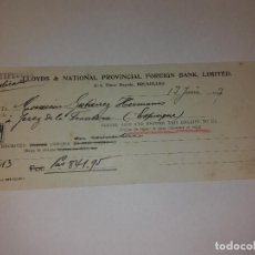 Documentos bancarios: CHEQUE. LLOYDS & NATIONAL PROVINCIAL FOREIGN BANK, LIMITED. PLACE ROYALE , BRUXELLES 17, JUNIO 1927. Lote 116730471
