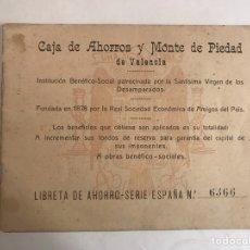 Documentos bancarios: VALENCIA. LIBRETA AHORRO. CAJA DE AHORROS Y MONTE DE PIEDAD (CALIGRAFÍA A MANO) 1941. Lote 116880114