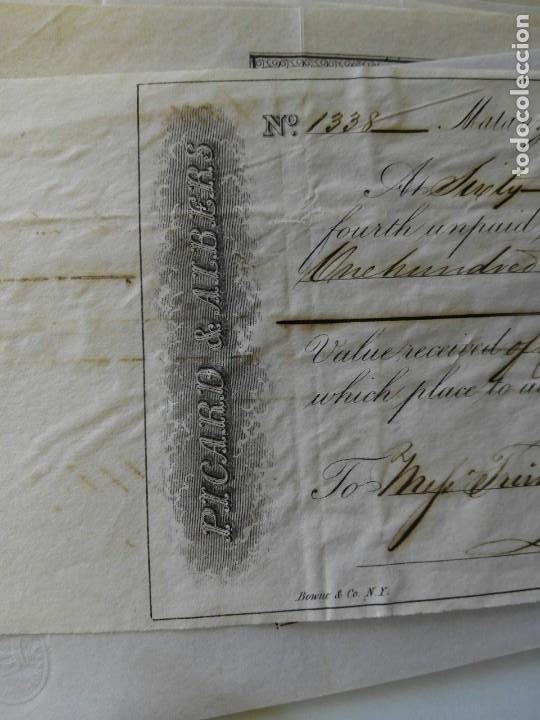 LETRA DE CAMBIO FECHADA 1845 EN MATANZAS CUBA - PICARD&ALBERS - RARA PIEZA (Coleccionismo - Documentos - Documentos Bancarios)