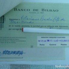 Documentos bancarios: POZOHONDO (ALBACETE ) LOTE DE RECIBOS DE BANCO CENTRAL, BILBAO. AÑO 1966 . Lote 117806199