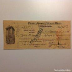 Documentos bancarios: CHEQUE PEDRO GÓMEZ MENA E HIJO. BANCO HERRERO. LA HABANA. OVIEDO. Lote 117871411