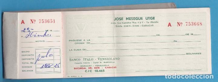 CHEQUERA A NOMBRE DE JOSÉ MESEGUE UTGE. BANCO ÍTALO-VENEZOLANO. CARACAS, 1961 (Coleccionismo - Documentos - Documentos Bancarios)