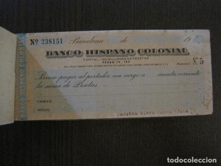 Documentos bancarios: BANCO HISPANO COLONIAL - TALONARIO DE CHEQUES -VER FOTOS-(V-14.513) - Foto 4 - 121061483