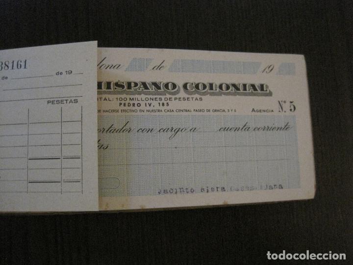 Documentos bancarios: BANCO HISPANO COLONIAL - TALONARIO DE CHEQUES -VER FOTOS-(V-14.513) - Foto 6 - 121061483