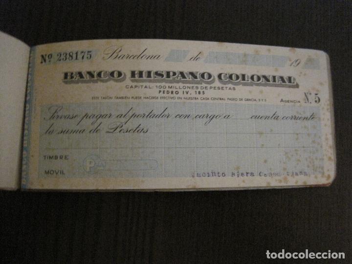 Documentos bancarios: BANCO HISPANO COLONIAL - TALONARIO DE CHEQUES -VER FOTOS-(V-14.513) - Foto 7 - 121061483