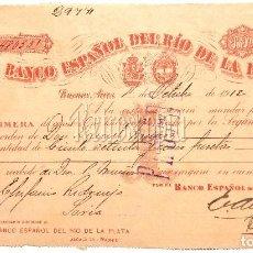 Documentos bancarios: LETRA DE CAMBIO BANCO ESPAÑOL DEL RÍO DE LA PLATA BUENOS AIRES ARGENTINA AÑO 1912. Lote 121643179
