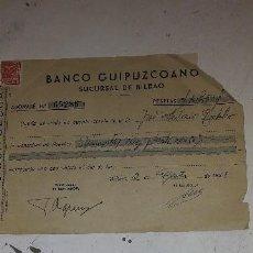 Documentos bancarios: BANCO GUIPUZCOANO SUCURSAL DE BILBAO 1941 (ABONO). Lote 122902031