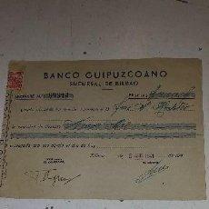 Documentos bancarios: BANCO GUIPUZCOANO SUCURSAL DE BILBAO. Lote 122902419