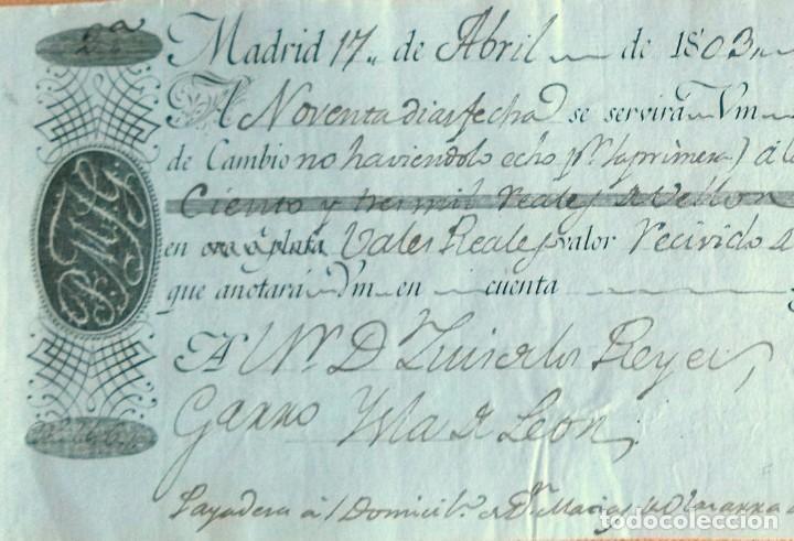 Documentos bancarios: Letra de cambio antigua Cádiz abril 1803 con cert. autenticidad.Documentos bancarios antiguos - Foto 2 - 123336291