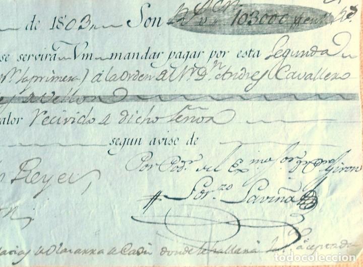 Documentos bancarios: Letra de cambio antigua Cádiz abril 1803 con cert. autenticidad.Documentos bancarios antiguos - Foto 3 - 123336291
