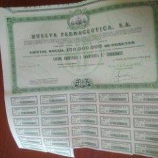 Documentos bancarios: .ACCIONES DE FARMACIA.ACCION ORDINARIA HUELVA FARMACEUTICA,S.A. 1974.VER FOTO. Lote 125926370