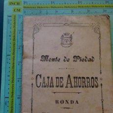 Documentos bancarios: LIBRETA DE AHORROS DE LA CAJA DE AHORROS DE RONDA AÑO 1926. Lote 126007563