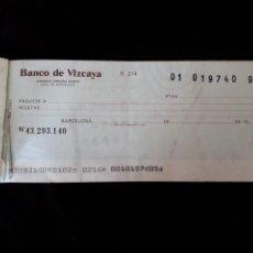 Documentos bancarios: CHEQUE BANCO DE VIZCAYA. Lote 126502919