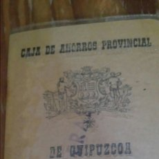 Documentos bancarios: ANTIGUA CARTILLA CAJA DE AHORROS PROVINCIAL DE GUIPÚZCOA. Lote 127670223