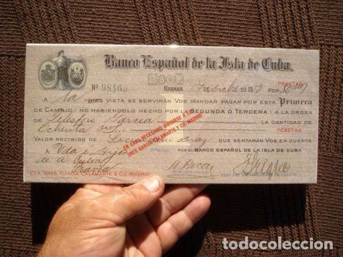 PAGARE CHEQUE L BANCO ESPAÑOL DE LA ISLA DE CUBA AÑO 1913. VALOR 80000 PESETAS. MUY RARO. VER FOTOS. (Coleccionismo - Documentos - Documentos Bancarios)