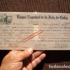 Documentos bancarios: PAGARE CHEQUE L BANCO ESPAÑOL DE LA ISLA DE CUBA AÑO 1913. VALOR 80000 PESETAS. MUY RARO. VER FOTOS.. Lote 127758687