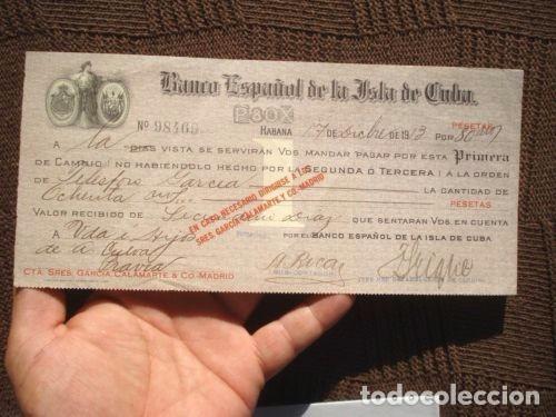 Documentos bancarios: PAGARE CHEQUE L BANCO ESPAÑOL DE LA ISLA DE CUBA AÑO 1913. VALOR 80000 PESETAS. MUY RARO. VER FOTOS. - Foto 2 - 127758687