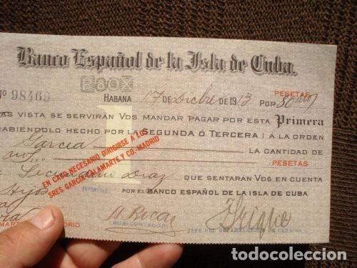 Documentos bancarios: PAGARE CHEQUE L BANCO ESPAÑOL DE LA ISLA DE CUBA AÑO 1913. VALOR 80000 PESETAS. MUY RARO. VER FOTOS. - Foto 3 - 127758687