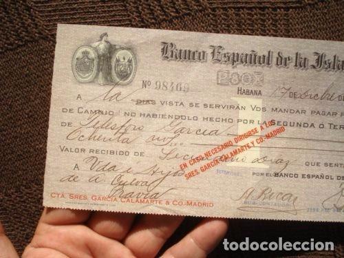 Documentos bancarios: PAGARE CHEQUE L BANCO ESPAÑOL DE LA ISLA DE CUBA AÑO 1913. VALOR 80000 PESETAS. MUY RARO. VER FOTOS. - Foto 6 - 127758687