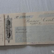 Documentos bancarios: ANTIGUO LIBRO DE CHEQUES.BANCO CENTRAL.AÑOS 40. Lote 128673999