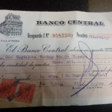 Documentos bancarios: RESGUARDO DE INGRESO BANCO DE ESPAÑA SUCURSAL LAS PALMAS -- 1956. Lote 129300243