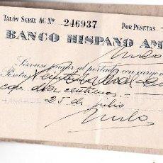 Documentos bancarios: ANTIGUO TALONARIO DE CHEQUES DEL ¨BANCO HISPANO AMERICANO¨1943 LINARES (JAEN). Lote 129333379