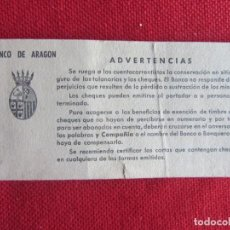 Documentos bancarios: TALONARIO-CHEQUERA BANCO DE ARAGON DELEGACIÓN LERIDA. 1969-. Lote 129393167