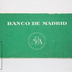 Documentos bancarios: ANTIGUO TALONARIO DE CHEQUES - BANCO DE MADRID - AÑOS 60-70 - MEDIDAS 18,5 X 8 CM. Lote 130482722