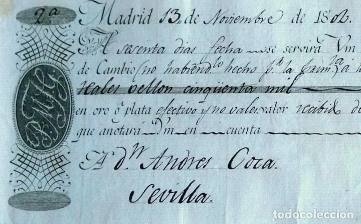 Documentos bancarios: Letra de cambio antigua Sevilla de 1802 con certif. autent. Documentos antiguos Sevilla - Foto 3 - 131784654