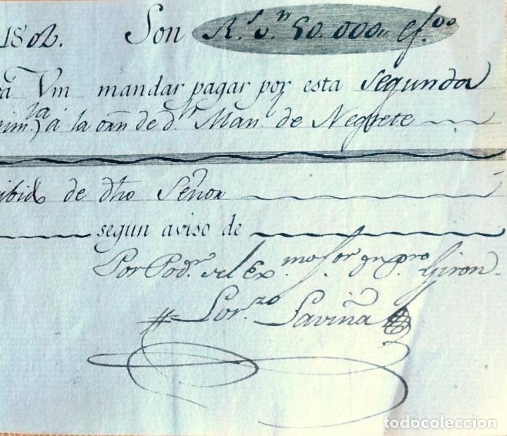 Documentos bancarios: Letra de cambio antigua Sevilla de 1802 con certif. autent. Documentos antiguos Sevilla - Foto 4 - 131784654