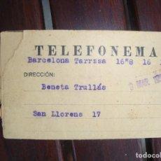 Documentos bancarios: TELEFONEMA. Lote 132244914