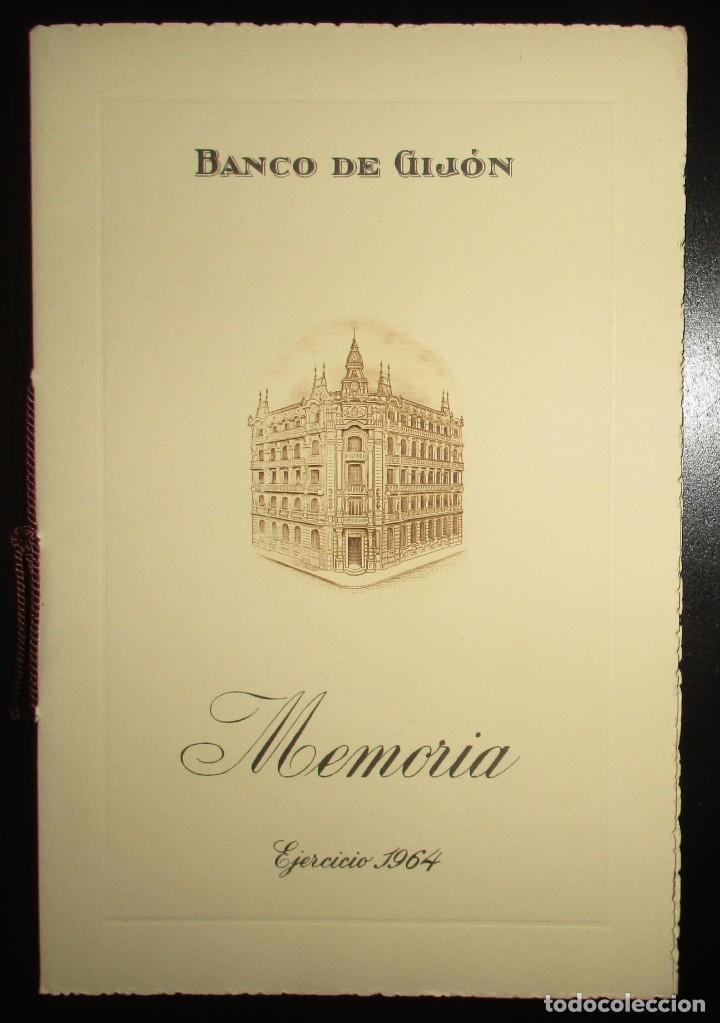 MEMORIA DEL BANCO DE GIJÓN, EJERCICIO 1964. CON TARJETAS DE VISITA DEL PRESIDENTE Y DIRECTOR GRAL., usado segunda mano