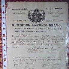 Documentos bancarios: ADMINISTRACION ECONOMICA DE LA PROVINCIA DE MALAGA, AÑO 1870. . Lote 132827034