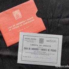 Documentos bancarios: LIBRETA CRÉDITO CAJA DE AHORROS Y MONTE DE PIEDAD. AÑO 1962.. Lote 133413458