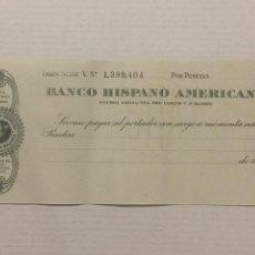 Documentos bancarios: TALON BANCO HISPANO AMERICANO. AÑOS 50. SIN UTILIZAR.. Lote 133464126