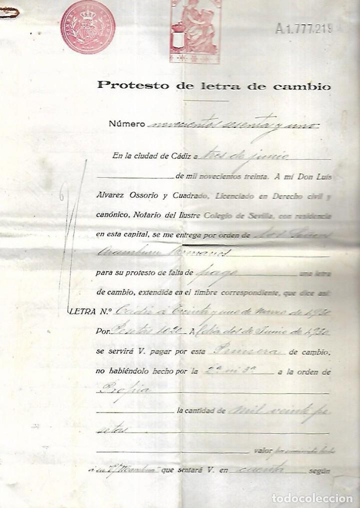 CADIZ. 1930. PROTESTO DE LETRA DE CAMBIO. VER DOCUMENTOS (Coleccionismo - Documentos - Documentos Bancarios)