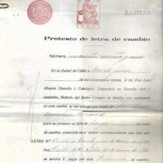 Documentos bancarios: CADIZ. 1930. PROTESTO DE LETRA DE CAMBIO. VER DOCUMENTOS. Lote 133697670