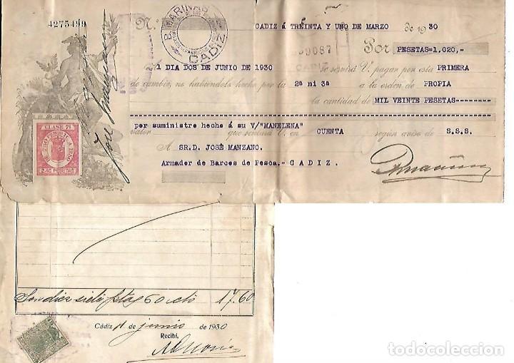Documentos bancarios: CADIZ. 1930. PROTESTO DE LETRA DE CAMBIO. VER DOCUMENTOS - Foto 5 - 133697670