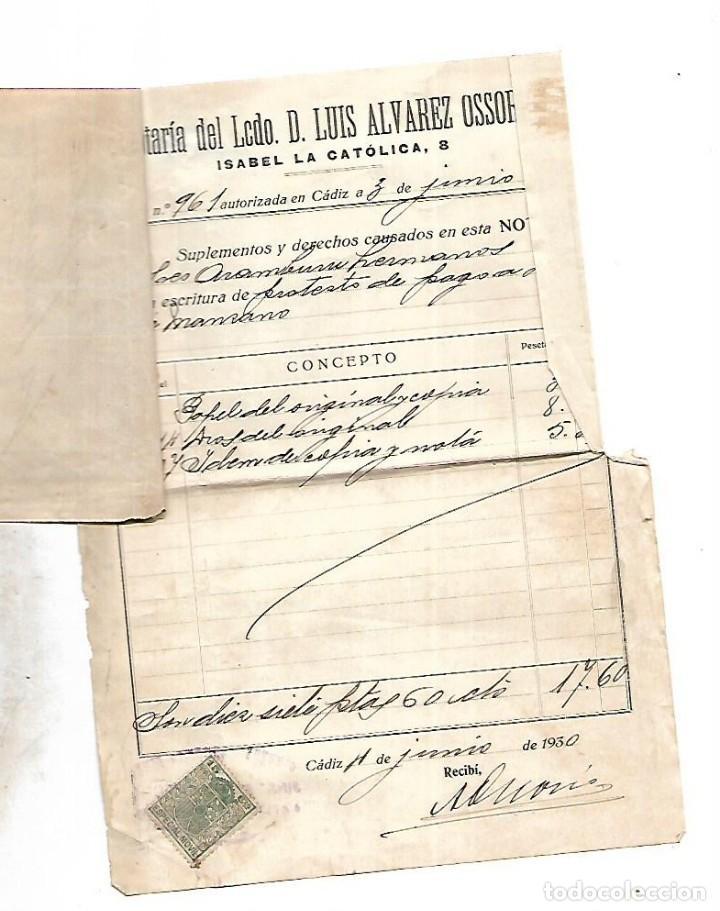 Documentos bancarios: CADIZ. 1930. PROTESTO DE LETRA DE CAMBIO. VER DOCUMENTOS - Foto 6 - 133697670