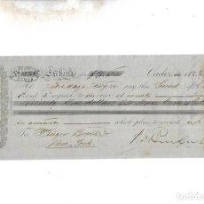 Documentos bancarios: LETRA DE CAMBIO. A.J.BENSUSAN. CADIZ. 1879. Lote 133908870