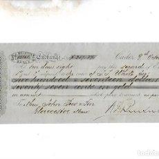 Documentos bancarios: LETRA DE CAMBIO. A.J.BENSUSAN. CADIZ. 1879. Lote 133908886