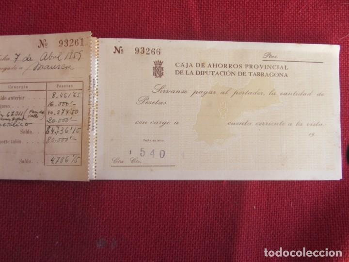 Documentos bancarios: Talonario de cheques Caja de ahorros provincial de la diputación de Tarragona 1959-60 - Foto 2 - 134123038