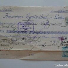 Documentos bancarios: LEON. FRANCISCO EGUIZABAL. DOCUMENTO BANCARIO, AÑOS 30. CON TIMBRE FISCAL REPUBLICA ESPAÑOLA.. Lote 134508358