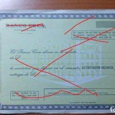 Documentos bancarios: DOCUMENTO DE ABONO DEL BANCO COCA. Lote 136534950