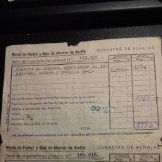 Documentos bancarios: DOS RECIBOS DE ENTREGA DE ALHAJAS - MONTE DE PIEDAD. Lote 137205030