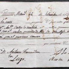 Documentos bancarios: GALICIA.LUGO.LETRA DE CAMBIO 2.006 REALES LIBRADA POR MARQUESA VDA.DE SAN MARTIN DE HOMBREIRO. 1845. Lote 137390746