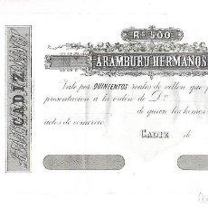 Documentos bancarios: CADIZ. BANCA ARAMBURU HERMANOS. 500 REALES DE VELLON. 1870. Lote 137713910