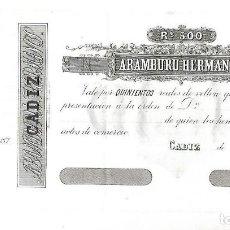 Documentos bancarios: CADIZ. BANCA ARAMBURU HERMANOS. 500 REALES DE VELLON. 1870. Lote 137713946