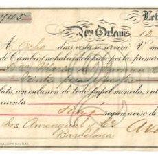 Documentos bancarios: LETRA DE CAMBIO AVENDAÑO HERMANOS. NUEVA ORLEANS LUISIANA ESTADOS UNIDOS AÑO 1883. Lote 138063766